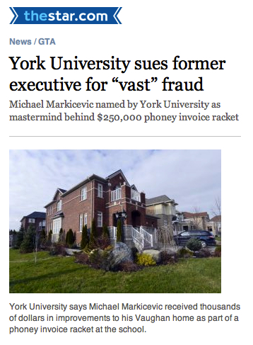 Employee fraud: York University sues former executive for vast fraud.